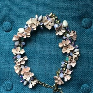 JCrew Crystal Collage Floral Necklace